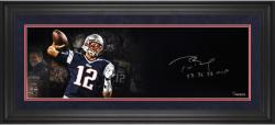 "Tom Brady New England Patriots Framed Autographed 10"" x 30"" Film Strip Photograph with SB 36, 38 MVP Inscriptions-Limited Edition of 12"