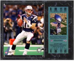 New England Patriots Super Bowl XXXVI Tom Brady Plaque with Replica Ticket