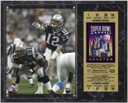 New England Patriots Super Bowl XXXVIII Tom Brady Plaque with Replica Ticket - Mounted Memories