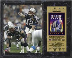 New England Patriots Super Bowl XXXVIII Tom Brady Plaque with Replica Ticket