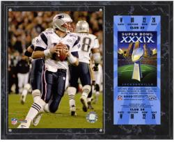 New England Patriots Super Bowl XXXIX Tom Brady Plaque with Replica Ticket - Mounted Memories