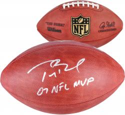 Tom Brady New England Patriots Autographed Wilson Pro Football with 07 NFL MVP Inscription - Mounted Memories
