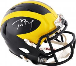 Tom Brady Michigan Wolverines Autographed Riddell Mini Helmet - Mounted Memories