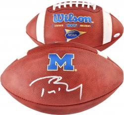 Tom Brady Michigan Wolverines Autographed NCAA Football - Mounted Memories