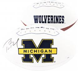 Tom Brady Michigan Wolverines Autographed White Panel Football - Mounted Memories
