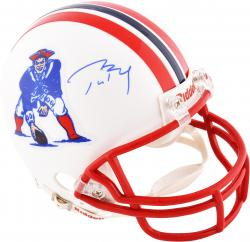 Tom Brady New England Patriots Autographed Riddell Throwback Mini Helmet - Mounted Memories
