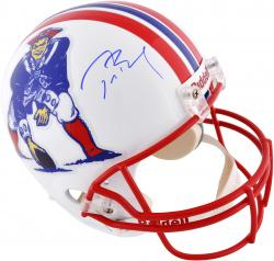 Tom Brady New England Patriots Autographed Riddell Replica Throwback Helmet - Mounted Memories