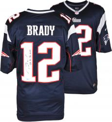 Tom Brady New England Patriots Autographed ProLine Navy Jersey with SB 36, 38 MVP Inscription