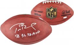 Tom Brady New England Patriots Autographed Wilson Pro Football with SB 36, 38 MVP Inscription - Mounted Memories