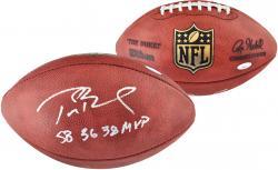 Tom Brady New England Patriots Autographed Wilson Pro Football with SB 36, 38 MVP Inscription