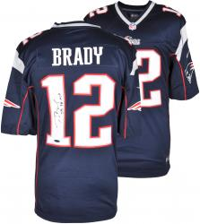 Tom Brady New England Patriots Autographed ProLine Navy Jersey with SB 38 MVP Inscription