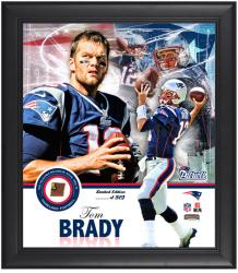 New England Patriots Tom Brady Framed Collage with Football - Mounted Memories