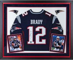 Tom Brady New England Patriots Autographed Deluxe Framed Proline Navy Jersey