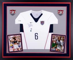 Brandi Chastain Team USA Autographed Deluxe Framed Nike White Soccer Jersey