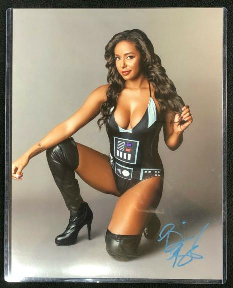 Brandi Rhodes Signed Star Wars Darth Vader Outfit AEW 11x14 Photo