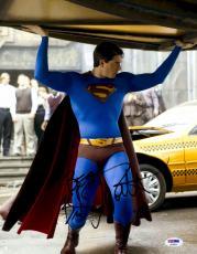 "Brandon Routh Autographed 11"" x 14"" Superman Holding Car Photograph with Best! Inscription - PSA/DNA"