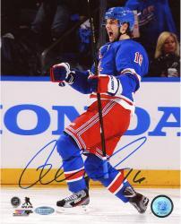 "Derick Brassard New York Rangers Autographed 8"" x 10"" Yelling Blue Uniform Photograph"