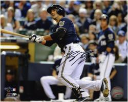 "Ryan Braun Milwaukee Brewers Autographed 8"" x 10"" Looking at Ball Photograph"