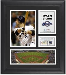 "Ryan Braun Milwaukee Brewers Framed 15"" x 17"" Collage with Game-Used Baseball"