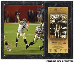"Drew Brees New Orleans Saints Super Bowl XLIV Sublimated 12"" x 15"" Plaque with Replica Ticket"