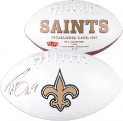 Drew Brees New Orleans Saints Autographed White Panel Football - Mounted Memories