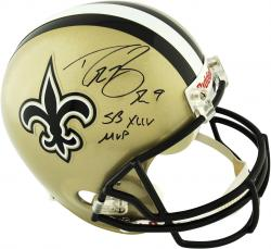 "Drew Brees New Orleans Saints Autographed Riddell Replica Helmet with ""SB MVP"" Inscription"