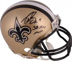 "Drew Brees Autographed Saints Mini Helmet with ""SB XLIV MVP"" Inscription"