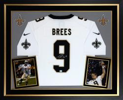 Drew Brees New Orleans Saints Autographed Deluxe Framed Nike Limited White Jersey