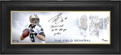 Drew Brees New Orleans Saints Framed Autographed 10'' x 30'' Field General Photograph with Multiple Stats Inscriptions-#24 of a Limited Edition of 24 - Mounted Memories