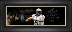 Drew Brees New Orleans Saints Framed Autographed 10'' x 30'' Film Strip Photograph with Multiple Stats Inscriptions-#24 of a Limited Edition of 24 - Mounted Memories