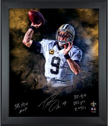 Drew Brees New Orleans Saints Framed Autographed 20'' x 24'' Photograph -- - Mounted Memories