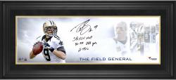 Drew Brees New Orleans Saints Framed Autographed 10'' x 30'' Field General Photograph with Multiple Stats Inscriptions-#2-23 of a Limited Edition of 24 - Mounted Memories