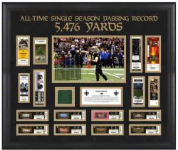 New Orleans Saints Drew Brees Record Breaking Season Ticket Collage with Game-Used Turf  - Mounted Memories