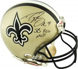 Drew Brees New Orleans Saints Autographed Riddell Pro-Line Authentic Helmet with SB XLIV MVP Inscription - Mounted Memories