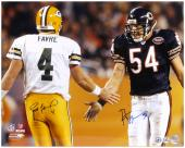 Brett Favre Green Bay Packers & Brian Urlacher Chicago Bears Dual Autographed 16'' x 20'' Photograph - Mounted Memories