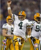 Brett Favre Green Bay Packers Autographed 8'' x 10'' Touchdown Pass Celebration Photograph - Mounted Memories