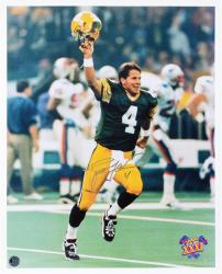 """Brett Favre Green Bay Packers Autographed 16"""" x 20"""" Arm In Air Photograph"""