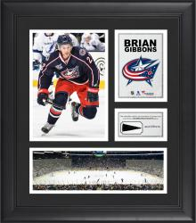 """Brian Gibbons Columbus Blue Jackets Framed 15"""" x 17"""" Collage with Piece of Game-Used Puck"""