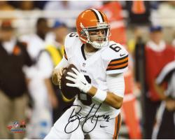 """Brian Hoyer Cleveland Browns Autographed Close-up Holding Ball 8"""" x 10"""" Photograph"""