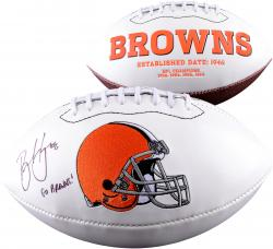 Brian Hoyer Cleveland Browns Autographed White Panel Footbal with Go Browns! Inscription