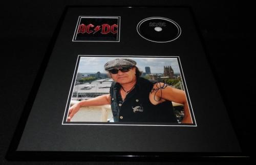 Brian Johnson Signed Framed 16x20 AC/DC Black Ice CD & Photo Display