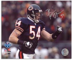 Brian Urlacher Chicago Bears Autographed 8'' x 10'' Pump Fist Photograph - Mounted Memories
