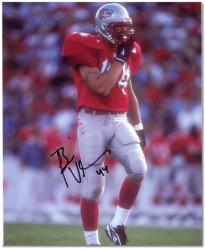 "Brian Urlacher New Mexico Lobos Autographed 8"" x 10"" Red Uniform Photograph"