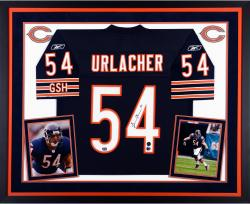 Brian Urlacher Chicago Bears Autographed Deluxe Framed Navy Blue Reebok EQT Jersey