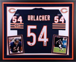 Brian Urlacher Chicago Bears Autographed Deluxe Framed Navy Blue Reebok Jersey