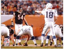 "Brian Urlacher and Peyton Manning Super Bowl XLI Autographed 16"" x 20"" Photo"