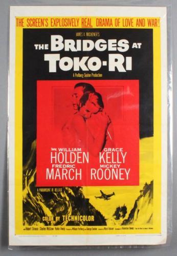 BRIDGES AT TOKO-RI One Sheet Movie Poster 1sh R59 Grace Kelly, William Holden, Korean War, by James Michener