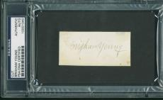 Brigham Young Signed 1.5X3 Cut Autographed Rare! PSA/DNA Slabbed