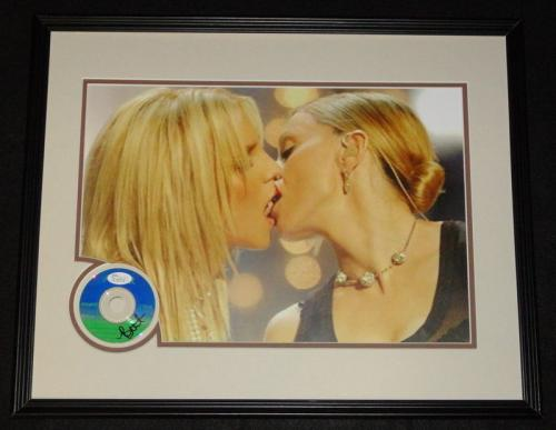 Britney Spears Signed Framed 16x20 CD & Photo Display JSA Kissing Madonna