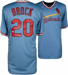 Lou Brock Autographed St. Louis Cardinals Throwback Jersey - HOF 85